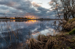 Ανατολή στη λίμνη Riedkine Στοκ Φωτογραφία