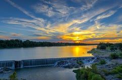 Ανατολή στον ποταμό Llano Στοκ Εικόνες