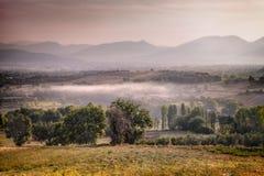 Ανατολή στους λόφους Bevagna, Ουμβρία Στοκ φωτογραφία με δικαίωμα ελεύθερης χρήσης
