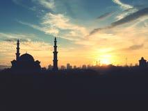 Ανατολή στο ομοσπονδιακό μουσουλμανικό τέμενος, Κουάλα Λουμπούρ Μαλαισία Στοκ Εικόνα
