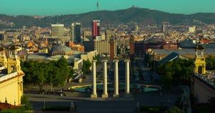 Ανατολή της Βαρκελώνης Timelapse του τετραγώνου στο κέντρο της Βαρκελώνης Ορόσημα ταξιδιού φιλμ μικρού μήκους
