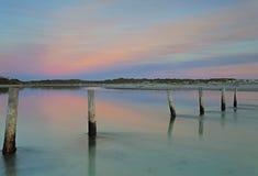 Ανατολή του φεγγαριού λιμνοθαλασσών Στοκ Φωτογραφίες