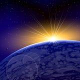 Ανατολή Dawn Space Planet Warm Shine ελεύθερη απεικόνιση δικαιώματος