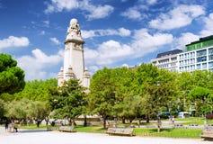 Ανατολική πλευρά του μνημείου Θερβάντες στο τετράγωνο της Ισπανίας (Π Στοκ Εικόνες