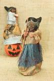 Ανατριχιαστικές άσχημες μάγισσες αποκριών και κολοκύθα φαναριών του Jack Στοκ Εικόνα
