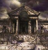 Ανατριχιαστικές συχνάζοντας καταστροφές ενός αρχαίου ναού ή ενός τάφου διανυσματική απεικόνιση