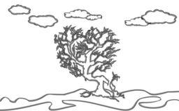 Ανατριχιαστικό δέντρο στην τέχνη μορφής καρδιών Στοκ φωτογραφία με δικαίωμα ελεύθερης χρήσης