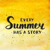 Αναφέρετε κάθε καλοκαίρι έχει μια ιστορία σχετικά με το υπόβαθρο watercolor ελεύθερη απεικόνιση δικαιώματος