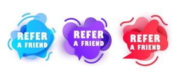 Αναφέρετε μια έννοια φίλων Έμβλημα για την επιχείρηση, το μάρκετινγκ και τη διαφήμιση επίσης corel σύρετε το διάνυσμα απεικόνισης απεικόνιση αποθεμάτων