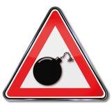 Αναφλεγμένη σημάδι βόμβα Στοκ εικόνα με δικαίωμα ελεύθερης χρήσης
