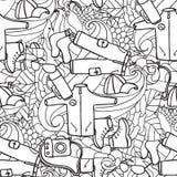αναψυχή Τουρισμός και στρατοπέδευση Συρμένα χέρι doodle στοιχεία - άνευ ραφής διανυσματική απεικόνιση τμήματα ταξιδιού Στοκ φωτογραφίες με δικαίωμα ελεύθερης χρήσης