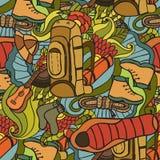 αναψυχή Τουρισμός και στρατοπέδευση Συρμένα χέρι doodle στοιχεία - άνευ ραφής διανυσματική απεικόνιση Στοκ Εικόνα