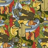 αναψυχή Τουρισμός και στρατοπέδευση Συρμένα χέρι doodle στοιχεία - άνευ ραφής διανυσματική απεικόνιση Στοκ Εικόνες