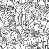 αναψυχή Τουρισμός και στρατοπέδευση Συρμένα χέρι doodle στοιχεία - άνευ ραφής διανυσματική απεικόνιση τμήματα ταξιδιού Στοκ Εικόνες