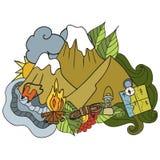 αναψυχή Τουρισμός και στρατοπέδευση Συρμένα χέρι doodle στοιχεία - διανυσματική απεικόνιση Στοκ Εικόνα