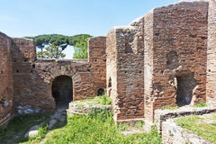 Αναλαμπή στην αρχαιολογική περιοχή Ostia Antica - τη Ρώμη - Ital Στοκ φωτογραφία με δικαίωμα ελεύθερης χρήσης