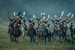 Αναδημιουργία των μαχών του πατριωτικού πολέμου 1812 της ρωσικής πόλης Maloyaroslavets Στοκ Εικόνα
