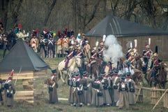 Αναδημιουργία των μαχών του πατριωτικού πολέμου 1812 της ρωσικής πόλης Maloyaroslavets Στοκ Φωτογραφίες