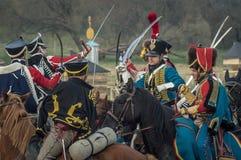 Αναδημιουργία των μαχών του πατριωτικού πολέμου 1812 της ρωσικής πόλης Maloyaroslavets Στοκ Φωτογραφία