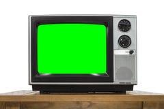 Αναλογική τηλεόραση στο λευκό με τη βασική πράσινη οθόνη χρώματος Στοκ εικόνες με δικαίωμα ελεύθερης χρήσης