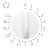 Αναλογικό μικρό χρονόμετρο φούρνων μικροκυμάτων 35, απομονωμένος αναλογικός τρύγος Στοκ Εικόνα