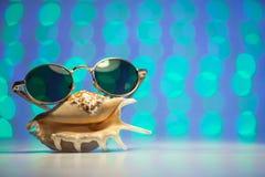Αναδρομικά γυαλιά ηλίου με το κοχύλι και το μουτζουρωμένο λαμπρό χρωματισμένο υπόβαθρο Στοκ Φωτογραφίες