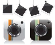 Αναδρομικά εικονίδια καμερών και πλαίσιο φωτογραφιών διανυσματική απεικόνιση