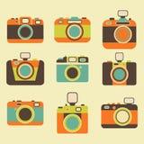 Αναδρομικά εικονίδια καμερών φωτογραφιών καθορισμένα Στοκ φωτογραφία με δικαίωμα ελεύθερης χρήσης