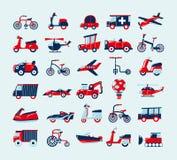 Αναδρομικά εικονίδια μεταφορών καθορισμένα Στοκ Εικόνες