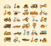 Αναδρομικά εικονίδια μεταφορών που τίθενται Στοκ φωτογραφία με δικαίωμα ελεύθερης χρήσης