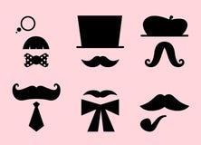 Αναδρομικά εξαρτήματα Mustaches και καπέλων που απομονώνονται στο π Στοκ Εικόνες