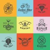 Αναδρομικά ετικέτες ποδηλάτων συνήθειας διανυσματικά ή πρότυπα λογότυπων καθορισμένες Στοκ Εικόνες