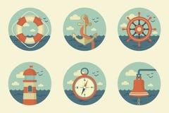 Αναδρομικά θαλάσσια εικονίδια Στοκ εικόνα με δικαίωμα ελεύθερης χρήσης