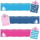 Αναδρομικά οριζόντια εμβλήματα δώρων Χριστουγέννων απεικόνιση αποθεμάτων