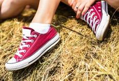 αναδρομικά πάνινα παπούτσια Στοκ Φωτογραφία