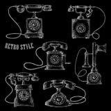 Αναδρομικά περιστροφικά εικονίδια σκίτσων τηλεφωνικής κιμωλίας πινάκων Στοκ Εικόνα
