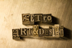 Αναδρομικά τέχνη & σχέδιο - letterpress μετάλλων γράφοντας σημάδι Στοκ φωτογραφία με δικαίωμα ελεύθερης χρήσης