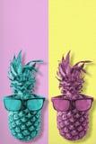 Αναδρομικά φρούτα ανανά χρώματος με τα γυαλιά ηλίου στοκ φωτογραφία με δικαίωμα ελεύθερης χρήσης