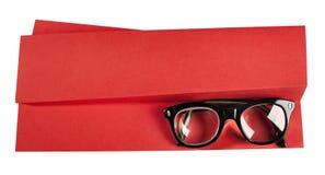 Αναδρομικά eyeglasses με το μαύρο πλαίσιο στη δημιουργική υποστήριξη Στοκ Εικόνα