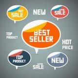 Αναδρομικές ετικέτες, ετικέττες. Καλύτερος πωλητής, νέα, έξοχη πώληση Διανυσματική απεικόνιση