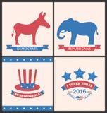Αναδρομικές κάρτες για Advertise των Ηνωμένων Πολιτειών πολιτικά κόμματα απεικόνιση αποθεμάτων