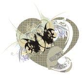 Αναδρομικές καρδιές με την πεταλούδα δράκων διανυσματική απεικόνιση