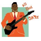 Αναδρομική έννοια μουσικής τζαζ, άτομο κιθάρων ελεύθερη απεικόνιση δικαιώματος