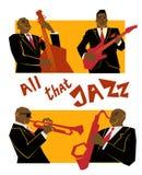 Αναδρομική έννοια μουσικής τζαζ, ζώνη, απεικόνιση παλιών σχολείων για τη διαφήμιση, αφίσες και φεστιβάλ κάλυψης διανυσματική απεικόνιση
