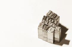 Αναδρομική αγάπη λέξης μετάλλων προσθηκών Στοκ Εικόνες