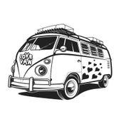 Αναδρομική απεικόνιση ειρήνης αυτοκινήτων love travel Van vector στοκ φωτογραφίες