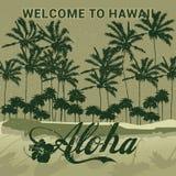 Αναδρομική αφίσα ή αυτοκόλλητη ετικέττα ταξιδιού ύφους Χαβάη στην υποδοχή Στοκ Φωτογραφία