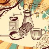 Αναδρομική αφίσα καφέ με συρμένους το χέρι μύλο καφέ, την κούπα και τον καφέ Στοκ Φωτογραφία