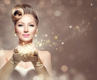 Αναδρομική γυναίκα διακοπών με τα μαγικά αστέρια Στοκ Εικόνες