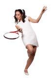 Αναδρομική γυναίκα με μια ρακέτα αντισφαίρισης στοκ εικόνα με δικαίωμα ελεύθερης χρήσης